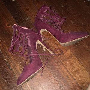 Maroon strappy stilettos